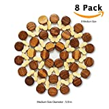 8 Sets BigHala Bamboo Trivets Wood Drink Coaster Burner Hot Coffee Cup Pads Planter Placemat for Dishes Heating Insulation Kitchen Dining End Table Room Desktop Tablecloth Protection Decoration M Size