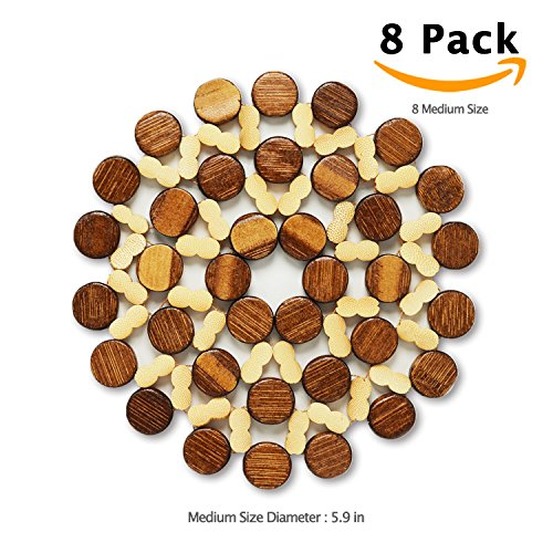 8 Sets BigHala Bamboo Trivets Wood Drink Coaster Burner Hot Coffee Cup Pads Planter Placemat for Dishes Heating Insulation Kitchen Dining End Table Room Desktop Tablecloth Protection Decoration M Size (Round Dining Table Set For 8)