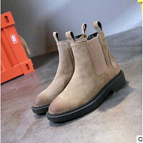 ZHZNVX HSXZ Zapatos de Mujer Otoño Invierno PU Confort botas de tacón Chunky Round Toe botines/botines de camello ocasional del ejército Negro Gris verde Gray