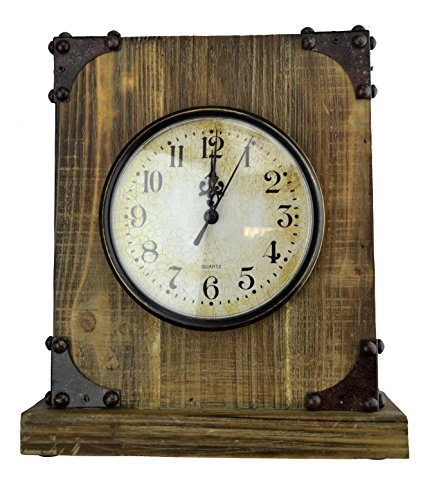 Lulu Decor, Reclaimed Wood, Shabby Chic Rustic Wood Tabletop Clock with Antique Look. Key Holder in Hidden Area (Desk Clock) - Reclaimed wood, Shabby Chic Rustic Desk clock with antique look. It opens from middle & it comes with 3 key hooks. The bottom part has velvet material to avoid scratches on your wooden furniture. Wooden Clock with Iron corners for antique & Rustic look. Approx size 9 inches width, 10 inches height with 3 inches thick. It matches with most of the wooden furniture, can be kept near fireplaces, study room, on top of bedroom drawers, office table etc. Little hiding place at the back of the clock. A good place to hide valuables like rings, bracelet or safe keys etc. - clocks, bedroom-decor, bedroom - 51Swe6tYXFL -