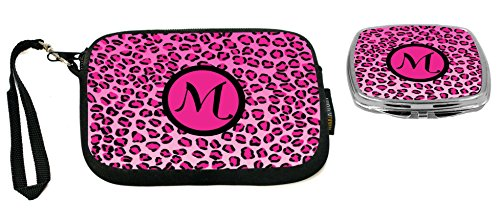 Rikki Knight Letter M Hot Pink Leopard Print Monogrammed Design Neoprene Clutch Wristlet with Matching Square Compact Mirror (2560 Print)