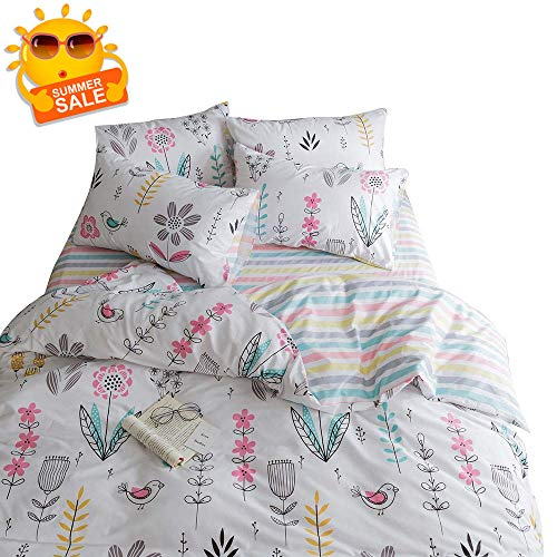 BuLuTu Floral Bird Print Pattern Girls Duvet Covers Queen White Premium Cotton Spring Blossom Colorful Reversible Kids Bedroom Comforter Cover Full Bedding Sets Zipper for Teen Toddler,NO Comforter ()