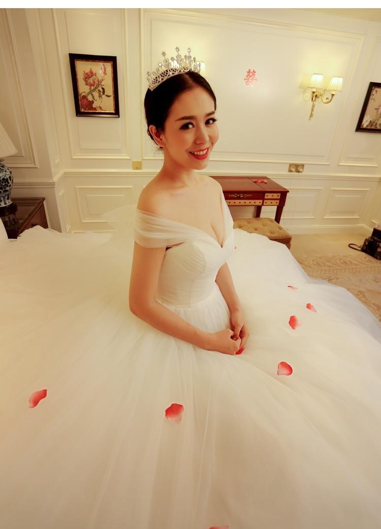 Generic_send_three_meters_gloves_panniers]_ new bride wedding dress _word_ shoulder _one_meter_ large _tail
