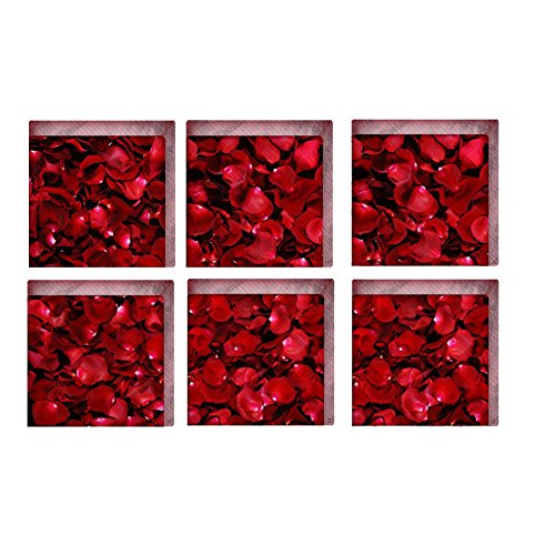 Heaven2017 Rose Petal Pattern 3D Anti Slip Waterproof Bathtub Stickers Tub Tile Floor Decal - Red