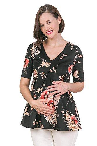 Hello MIZ Women's Floral and Polka Dot Pleated Peplum V Neck