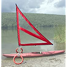 Harmony Upwind Kayak Sail and Canoe Sail Kit (Red). Complete with Telescoping Mast, Boom, Outriggers, All Rigging Included! Compact, Portable, Easy to Set up - Start Sailing This Season!