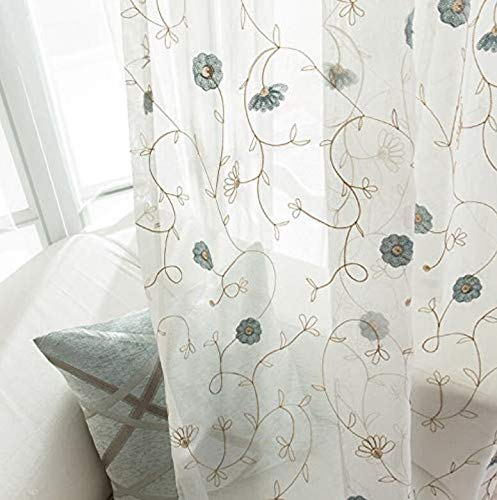 - ZZCZZC 1 Set (2 Panels) Fresh Floral Sheer Voile Curtains Pastoral Daisy Embroidered Tulle Curtain Drape Countryside Style Rod Pocket Top Window Drape Panels Home Textile 52 inch Wide by 84 inch Long
