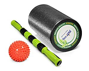 """Yes4All Premium PE High Density Foam Roller for Physical Massage Therapy, Mobility & Flexibility (Special Sale) (Black - 12"""" Combo)"""