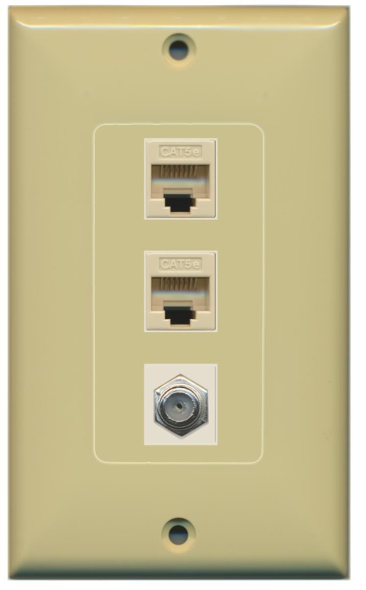 Amazon.com: RiteAV - 1 Port Coax Cable TV- F-Type 2 Port Cat5e ...