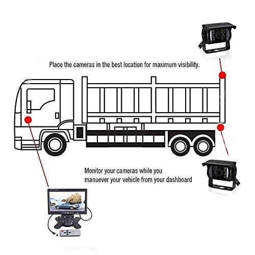 Podofo® Caméra de Recul 7 Pouces TFT LCD Ecran Moniteur de Véhicule 2 x Caméras de Sauvegarde IR LED Vision Nocturne Étanche Caméra Arrière Inversée pour Camion RV Bus durable modeling