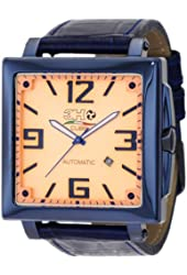 3H Women's CA11 Cube Blue PVD Automatic Orange Dial Interchangeable Band Watch