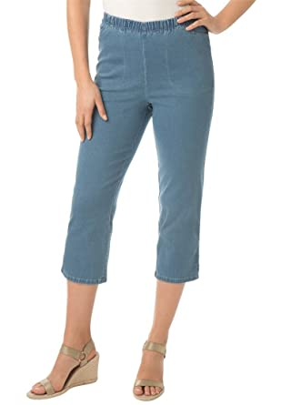 Women's Plus Size Capri Pull On Denim at Amazon Women's Clothing ...
