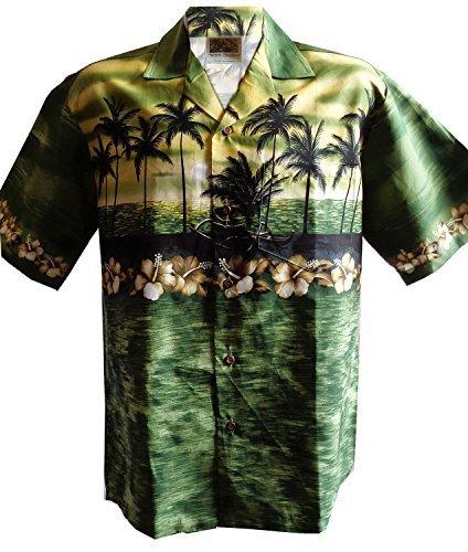 WinnieFashion Hawaiian Aloha Shirt Sunset In Paradise Shirtin Green (L)