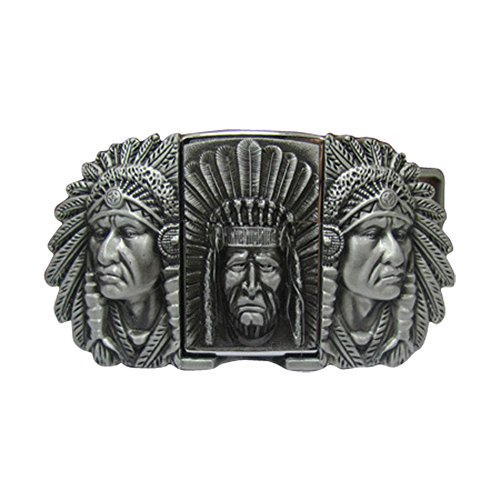 Designer Style Belt Buckle (E-Clover Designer Cowboy Lighter Style Buckle Three Indian Chief Head Western Belt Buckle)