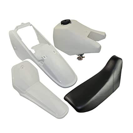 FLYPIG Complete Plastic Gas Tank Seat Kit White for Yamaha PW50 PW 50