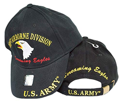 MWS U.S. Army 101st Airborne Division Screaming Eagles Black Cap HAT 3D 4-04-D