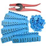 WMYCONGCONG 1-100 Number Plastic Livestock Blue Cow Cattle Ear Tag Animal Tag and 1 PCS Ear Tag Applicator
