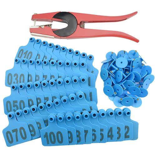 - WMYCONGCONG 1-100 Number Plastic Livestock Blue Cow Cattle Ear Tag Animal Tag and 1 PCS Ear Tag Applicator