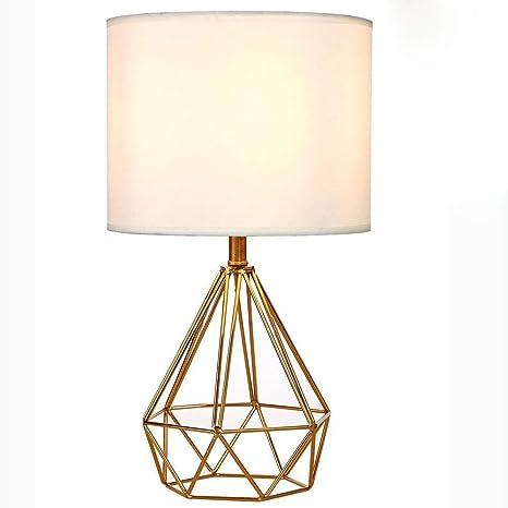 MMRLY Lámpara de Mesa Moderna con Tela Blanca Pantalla de ...