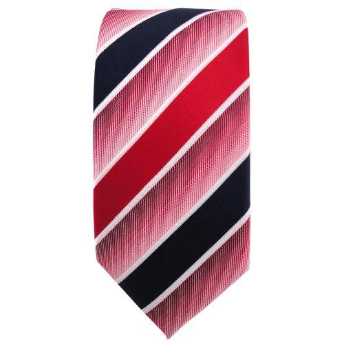 étroit TigerTie Designer cravate rouge vif bleu foncé blanc rayé - Tie