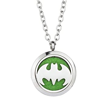 Amazon batman fragrance essential oil diffuser necklace 316l batman fragrance essential oil diffuser necklace 316l hypoallergenic stainless steel aromatherapy pendant jewelry for aloadofball Gallery