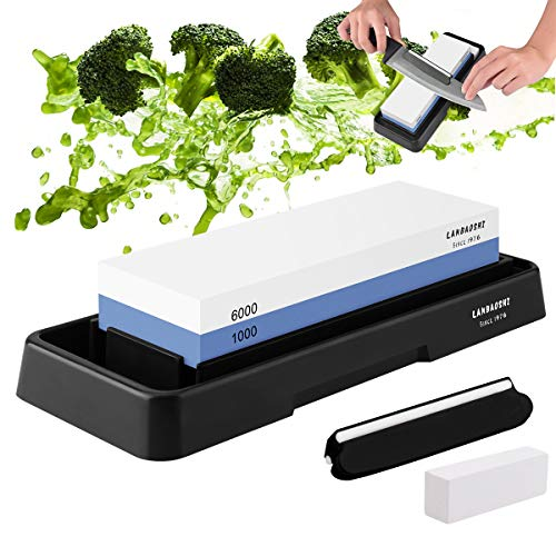 Knife Sharpening Stone Set , Whetstone Dual Sided 1000/6000 Grit Waterstone with Angle Guide Non Slip Rubber Base Holder, Knife Sharpeners Tool Kit for Kitchen Hunting (Blue + black)