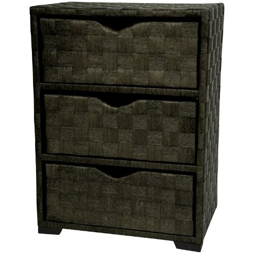 Oriental Furniture Natural Fiber Chest of Drawers - Five Drawer - Black