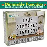 NEW 2018 Dimmable, Fun Cinematic Light Box, Unique Kids Night Light or For Decorating Rooms | Cinema Light Boxes for Kids with 372 Changeable Letters and Fun Symbols | Sturdy, Bright Letter LED Boxes