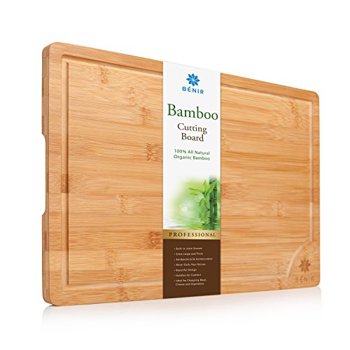"XL BAMBOO CUTTING BOARD SERVING TRAY - Longest Lasting Large Organic Antibacterial Wooden Butcher Block with Drip Grooves (17-3/4x12x0.8"")"