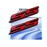 2pcs OEM Black SS Emblem 3D Badge Decal for Camaro SS Chevy SIERRA Flat Matte Red