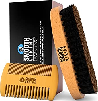 Beard & Mustache Brush and Comb Kit - Boar Bristle Beard Brush & Wooden  Grooming Comb -
