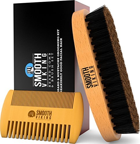 Beard & Mustache Brush and Comb Kit - Boar Bristle Beard Brush & Wooden Grooming Comb - Facial Hair Care Gift Set for Men - Distributes Products & Wax for ()