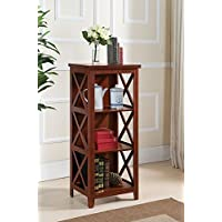 Kings Brand Walnut Finish Wood 3 Tier Casual Bookcase Display Cabinet