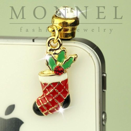 New 0.25 Pendant (IP184-B Cute Red Christmas Stocking 3.5mm Ear Jack Anti Dust Plug Cover for iPhone & Android)
