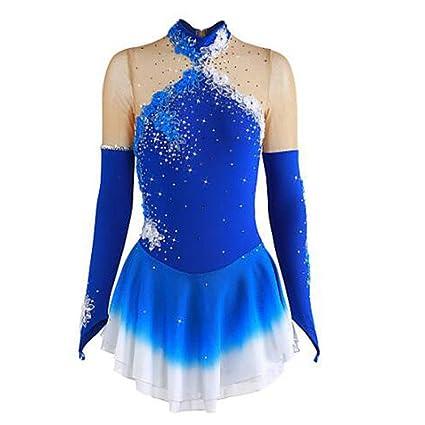 Mincon Chica Patinaje Sobre Hielo Vestidos Azul Flor Teñido Halo Licra Rendimiento Ropa de Patinaje Transpirable