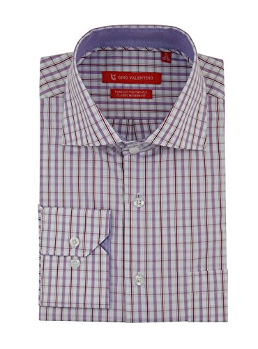 Gino Valentino Mens Check Dress Shirt Cotton Spread Collar Barrel Cuff (14.5