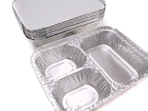 Disposable Aluminum 3 Compartment T.V Dinner Trays with Board Lid #210L (50) (Tv Dinner Plates)