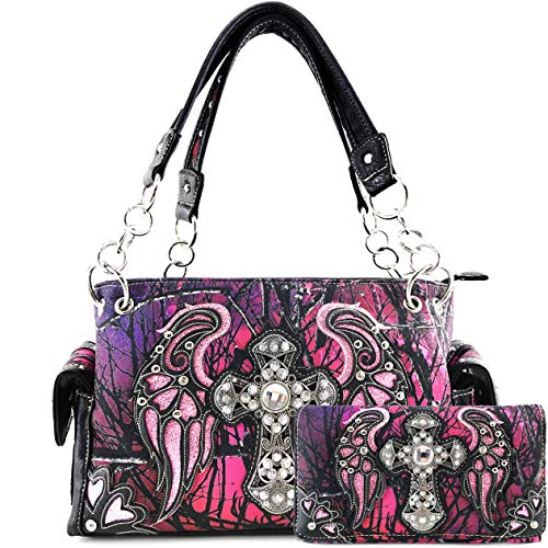 Justin West Camouflage Tree Branches Bling Rhinestone Cross Wings Handbag Purse Messenger Bags and Wallet Purple Wing (Pink Rhinestone Concho)