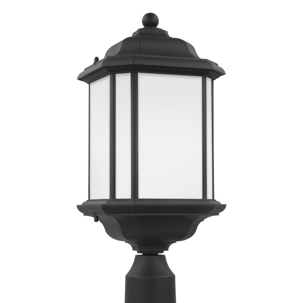Sea Gull Lighting 82529-12 Kent One-Light Outdoor Post Lantern with Satin Etched Glass Panels, Black Finish