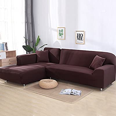 Eleoption Stretch Fabric Sofa Slipcover 1 2 3 4 Piece, Elastic Sectional Sofa Cover Slipcover Protector Couch Pure Color for Moving Furniture Living ...