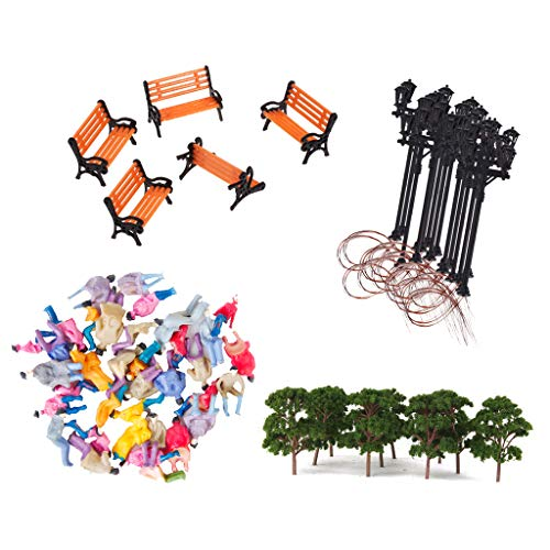 Flameer Bench Passenger Tree Lamppost Models Layout HO for Diorama Architecture DIY