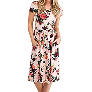 ZESICA Women's Summer Short Sleeve Floral Printed Casual Loose Swing Pleated T-Shirt Dress with Pockets