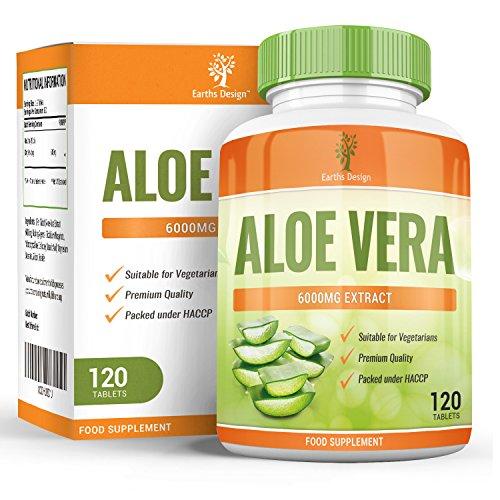 Aloe Vera, Hoch Potentes Nahrungsergänzungsmittel zum Abnehmen, Schonende Reinigung und Entschlackung Ihres Verdauungstraktes, Heilt und Befeuchtet die Haut, 6000mg, 120 Tabletten