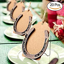 AerWo 20pcs Lucky Horseshoes Wedding Favors with Kraft Tag, Rustic Wedding Decorations and Thank You Tag for Party Gifts