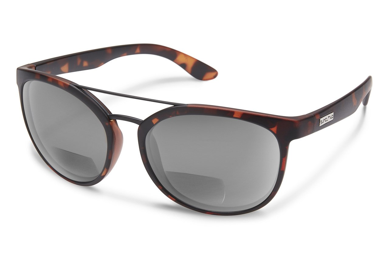 Suncloud Liberty Polarized Bi-Focal Reading Sunglasses in Matte Tortoise with Grey Lens +1.50