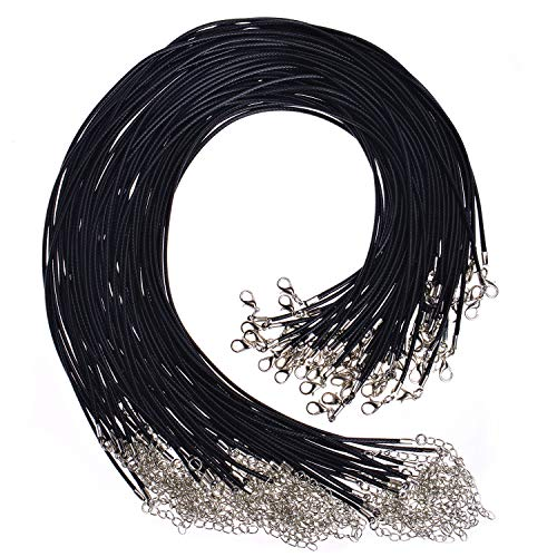 Paxcoo 100Pcs Black Waxed Necklace Cord with Clasp Bulk for Bracelet Necklace and Jewelry Making (20 Inches) ()