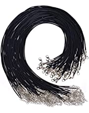 Selizo 100Pcs Necklace Cord for Jewelry Making, Black Waxed Necklace Cord String for Jewelry Necklace Bracelet Making Supplies