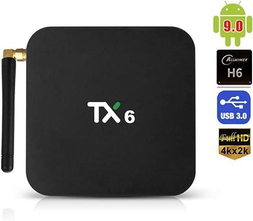 fang zhou Android 9.0 Smart TV Box 4GB, inalámbrico 2.4G + 5G, Quad-Core Arm Cortex-A53, 4K Ultra HD, Codificador de Video de Soporte para H.265, Web TV Box + Control Remoto: Amazon.es: