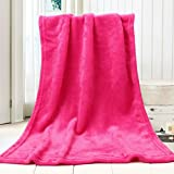 WensLTD 50X70CM Fashion Solid Soft Throw Kids Blanket Warm Coral Plaid Blankets Flannel (Hot Pink)