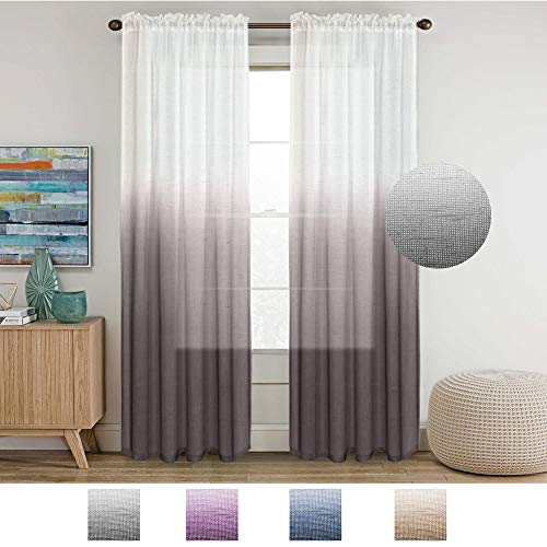 Turquoize Grey Linen Curtains 96 inches Long Natural Casual Open Weave Sheer Curtans Rod Pocket Window Treatment Panels Drapes (Ombre Gray to White, Sold by Pair)